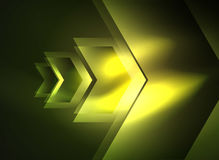 Digital technology glowing arrows. Modern geometric abstract background with light effects and place for your message Stock Image