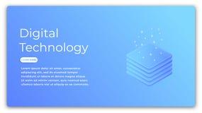 Digital technology isometric concept. Illustration of data analysis, big data processing, cloud computing. Futuristic. Computer technology Stock Images