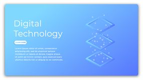 Digital technology isometric concept. Illustration of data analysis, big data processing, cloud computing. Futuristic. Computer technology Royalty Free Stock Photos