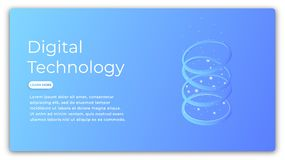 Digital technology isometric concept. Illustration of data analysis, big data processing, cloud computing. Futuristic. Computer technology Stock Photography