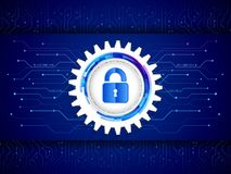 Digital technology protection concept. Futuristic circuit board on the blue background. stock illustration