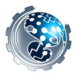 Digital technology sphere gear with people concept design. Symbol graphic template element vector. Digital technology sphere gear with people concept design royalty free illustration