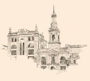 Digital teckning av Kiev historisk byggnad royaltyfri illustrationer