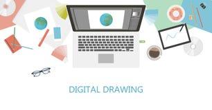 Digital teckningsskrivbord stock illustrationer