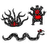 Digital teckningsuppsättning för roliga monster också vektor för coreldrawillustration stock illustrationer