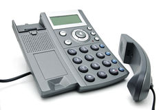 Digital telephone with display. Digital telephone with liquid-crystal display and speakerphone Stock Photos