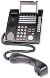Digital telephone off-hook. Office digital black telephone set, off-hook isolated on white Royalty Free Stock Photo
