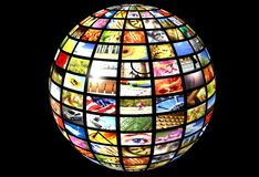 Digital television. Sphere with many screens over a black background as concept for digital television - new media Stock Photography
