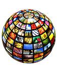 Digital televison. Sphere with many pictures over a white background as concept for digital tv - new media Royalty Free Stock Photos