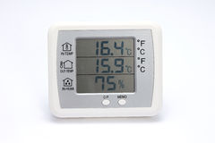 Digital thermo hygrometer isolated on white Royalty Free Stock Photo