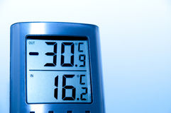 Digital thermometer. In steel color that shows a very cold climate outdoor Royalty Free Stock Photo