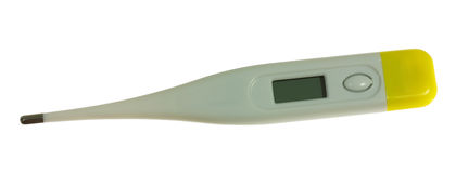 Digital thermometer. Isolated on white with clean display Royalty Free Stock Image