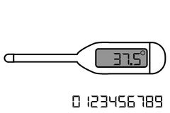 Digital Thermometer, Isolated on White. Vector Digital Thermometer, Isolated on White Royalty Free Stock Photos