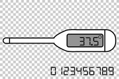 Digital Thermometer, at Transparent Effect Background. Vector Digital Thermometer, at Transparent Effect Background Royalty Free Stock Images