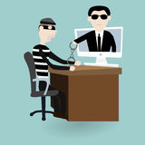 The digital thief was under arrest with police Royalty Free Stock Photos
