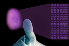 Digital Thumbprint. Illustration of digital thumbprinting, thumb in foreground, thumbprint in purple Stock Photo
