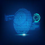 Digital thump print. Concept of digital security, electronic fingerprint on scanning screen Stock Photos