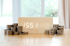 Digital time is money concept. Pound coins in foreground blurred Royalty Free Stock Photo