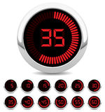 Digital timer. Set of twelve digital timers showing different times Royalty Free Stock Photo