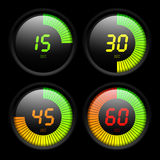 Digital timer. Four digital timers vector illustration Stock Photos