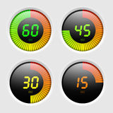 Digital timer. Four digital timers vector illustration Royalty Free Stock Photo