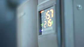 Digital timer countdown on UPS device, normal voltage. Stock footage stock video