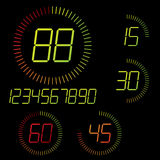 Digital timer illustration. 15 min interval timer icons and digits set Royalty Free Stock Image