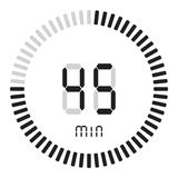 The digital timer 45 minutes. electronic stopwatch with a gradient dial starting vector icon, clock and watch, timer, countdown. The digital timer 45 minutes royalty free illustration
