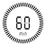 The digital timer 60 minutes, 1 hour. electronic stopwatch with a gradient dial starting vector icon, clock and watch, timer stock illustration