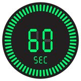 The digital timer 60 seconds, 1 minute, electronic stopwatch with a gradient dial starting vector icon, clock and watch, timer. The digital timer 60 seconds, 1 vector illustration
