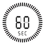 The digital timer 60 seconds, 1 minute. electronic stopwatch with a gradient dial starting vector icon, clock and watch, timer. The digital timer 60 seconds, 1 stock illustration