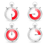 Digital timers set. Stopwatch collection timers with arrow and red time bar Royalty Free Stock Photos