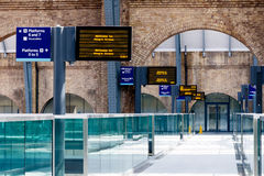 Digital Timetables at Kings Cross Station Royalty Free Stock Images