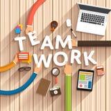 Digital tools. Flat design talking about digital marketing as text Teamwork on desktop.Vector Illustration Royalty Free Stock Image