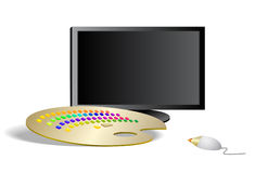 Digital tools of modern artists. The art composition of horizontal orientation is over white background. There are a black monitor without image resembling blank Stock Images