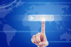 Digital touch screen of global start button Stock Photo