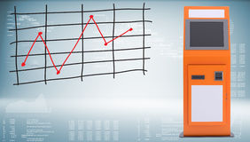 Digital touchscreen terminal and graph of price Royalty Free Stock Photos