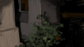 Digital traditional abstract painting of a urban house garden at night with plant illustration. Brush stroke mystery vegetation concrete building dark stock illustration