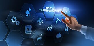 Free Digital Transformation And Digitalization Technology Concept On Abstract Background. Stock Images - 196154744