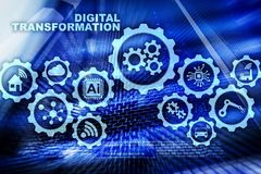 Digital Transformation Concept of digitalization of technology business processes. Datacenter background.
