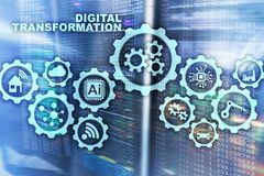 Digital Transformation Concept of digitalization of technology business processes. Datacenter background. stock images