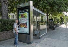 Digital transit shelters STM Stock Photo
