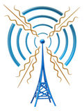 Digital transmitter sends signals from high tower Stock Photography