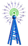 Digital transmitter sends signals from high tower Stock Photos