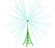 Digital transmitter sends signals from high tower Stock Images