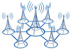 Digital transmitters sends signals from high tower Stock Photography