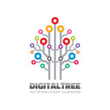 Digital tree - vector logo sign template concept illustration in flat style. Computer network technology sign. Electronic design. Digital tree - vector logo Royalty Free Stock Image