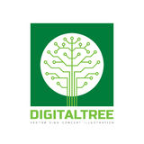 Digital tree - vector logo template concept illustration in flat style. Computer network technology sign. Royalty Free Stock Image