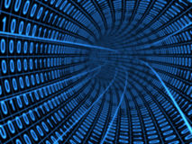Digital tunnel. Digital binary blue tunnel over black background Stock Illustration