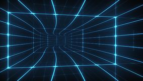 Digital tunnel. Animation of movement in digital tunnel with blue light stripes stock video footage
